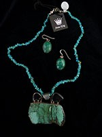 Pendant signed $ 149.50 #0764, Turquoise necklace $32.00 #2005, Turquoise Earrings $ 76.00 #5574